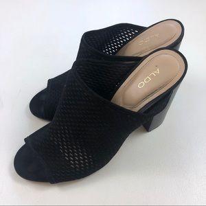 Aldo Shoes - [Aldo] Open Toe Stacked Heel Mule Slide On Leather